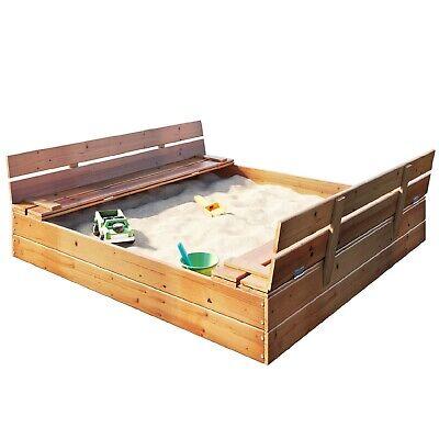 Sandkasten Sandbox mit Deckel SITZBÄNKEN Sandkiste 180x180CM Holz Schüsseln