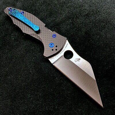 Spyderco Yojimbo 2 C85CF20CVP2 20CV Black Carbon Fiber w/blue Ti & Flomascus