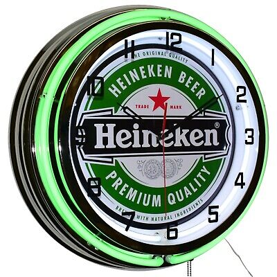 "Heineken Beer Green Double Neon Clock Chrome Finish Man Cave Bar Garage (19"")"