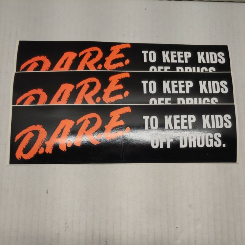 """3 Vintage DARE To Keep Kids Off Drugs Bumper Sticker 11"""" X 3"""" NEW OLD STOCK!"""
