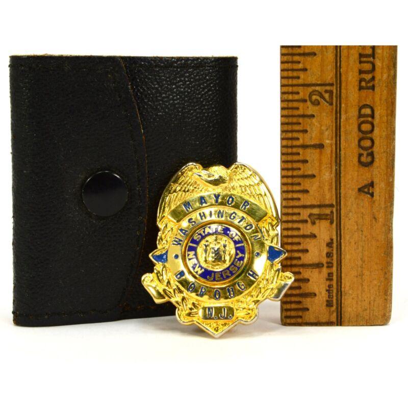 "Vintage OBSOLETE MINIATURE ""MAYOR"" BADGE 1.5"" in Mini Leather Case WASHINGTON NJ"