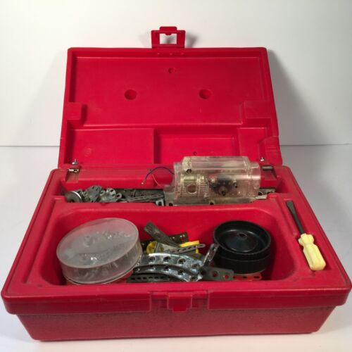 Vintage Gilbert Erector Set Parts in Red Plastic Carry Case Gear Reduction Motor