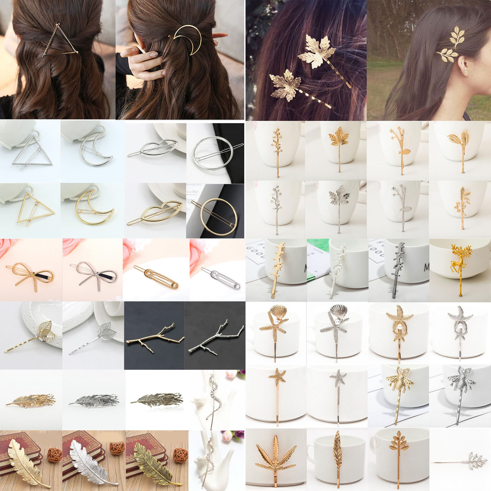 Fashion Women Gold Silver Geometry Triangle Hairpin Hair Cli