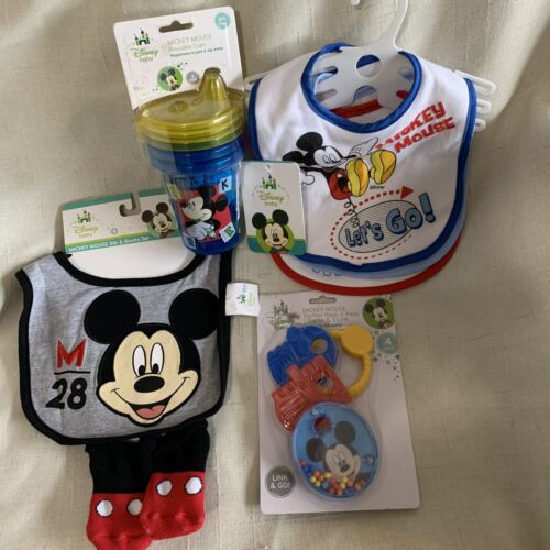 MICKEY MOUSE Disney Baby 12 Pc Supplies Bibs Booties Cups Te