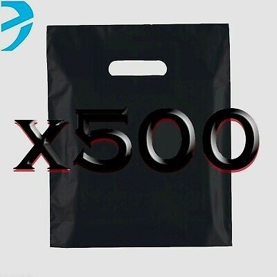 500 Black Plastic Carrier Bags Strong Patch Handle Shopping Bags Medium 15x18+3