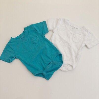 Koala Baby Newborn Top Boy White Teal Blue V Neck Vneck Hipster Clothing