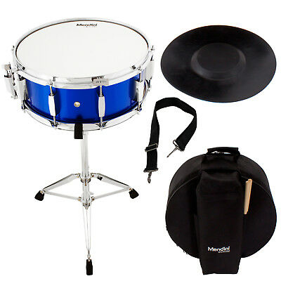 Mendini Student Blue Snare Drum Set with Gig Bag+Sticks+Stand+Practice Pad Kit ()