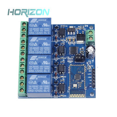 12v10a 4-channel Bluetooth Relay Module Mobile App Remote Control Switch