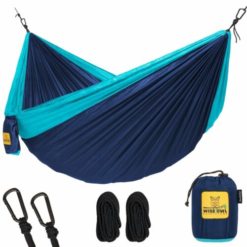 Wise Owl Outfitters Double 2-Person Camping Hammock Navy Blue & Light Blue New