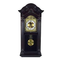 Bedford 25.5 Mahogany Cherry Oak Chiming Grandfather Wall Clock w Pendulum