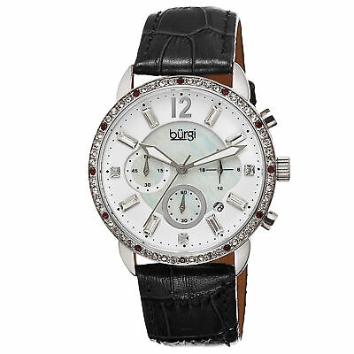New Women's Burgi BUR089BK Crystal Chronograph Black Genuine Leather Strap Watch