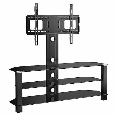 Cantilever Glass TV Stand with Swivel Bracket for 32 to 55 inches Plasma LCD TV
