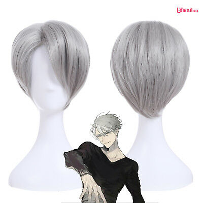 Yuri on Ice Victor Nikiforov Short Straight Gray Cosplay Wig Men's Party Wigs - Mens Party Wigs