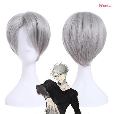 Yuri on Ice Victor Nikiforov Short Straight Gray Cosplay Wig Men's Party Wigs