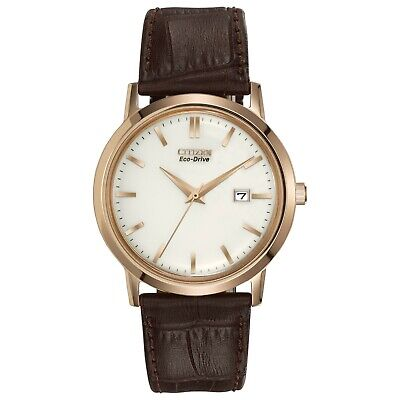 Citizen Eco Drive Men's Brown Leather Strap White Dial 40mm Watch BM7193 07B