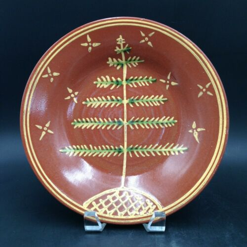 Wisconsin Pottery Redware Huntley Christmas Evergreen Tree Plate 1998 Friendship