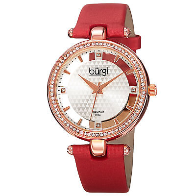New Women's Burgi BUR104RD Rose-tone Swiss Quartz Diamond Red Satin Strap Watch