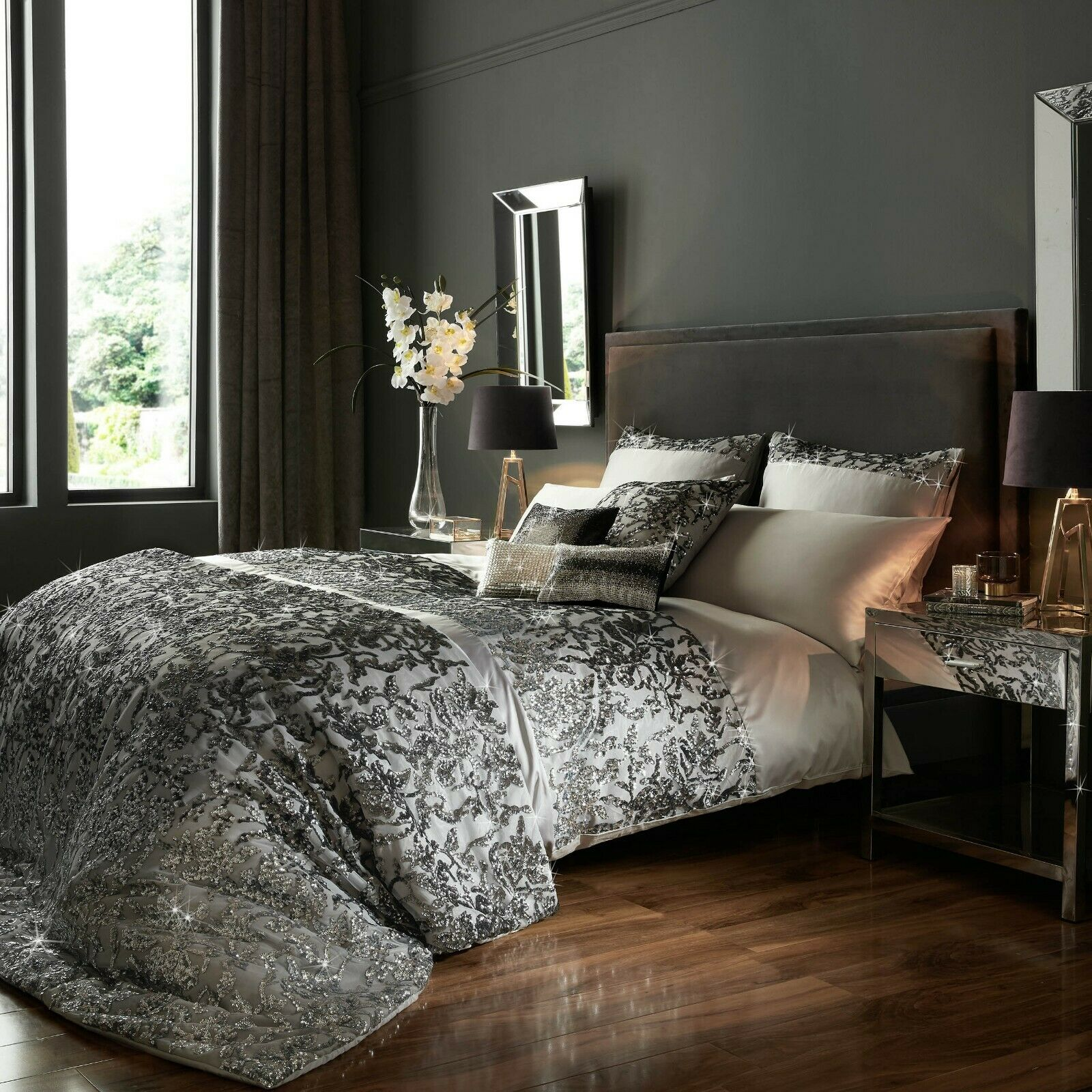 Designer Kylie Minogue MARISA Satin Sequins Mauve Bedding Spring//Summer 18