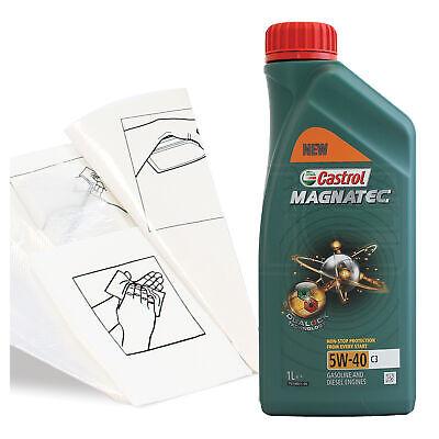 Engine Oil Top Up 1 LITRE Castrol Magnatec 5W-40 C3 1L +Gloves,Wipes,Funnel