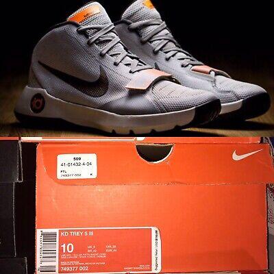 quality design a65ed a8e9b Nike KD Trey 5 III (749377-002) Gray Citrus Basketball Shoes Men Size