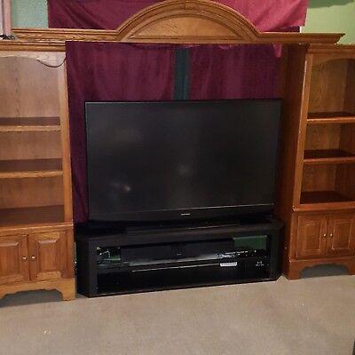 Entertainment Center TV Expandable Solid Red Oak Wood Shelve Rustic Traditional - Expandable Cherry Entertainment Center