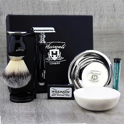 Black 5 Piece Shaving Set | DE Safety razor  & Synthetic Brush | Men