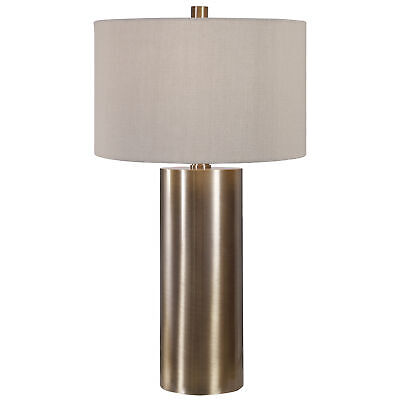Modern Minimalist Brass Bronze Cylinder Table Lamp | Metal Beige Casual Large