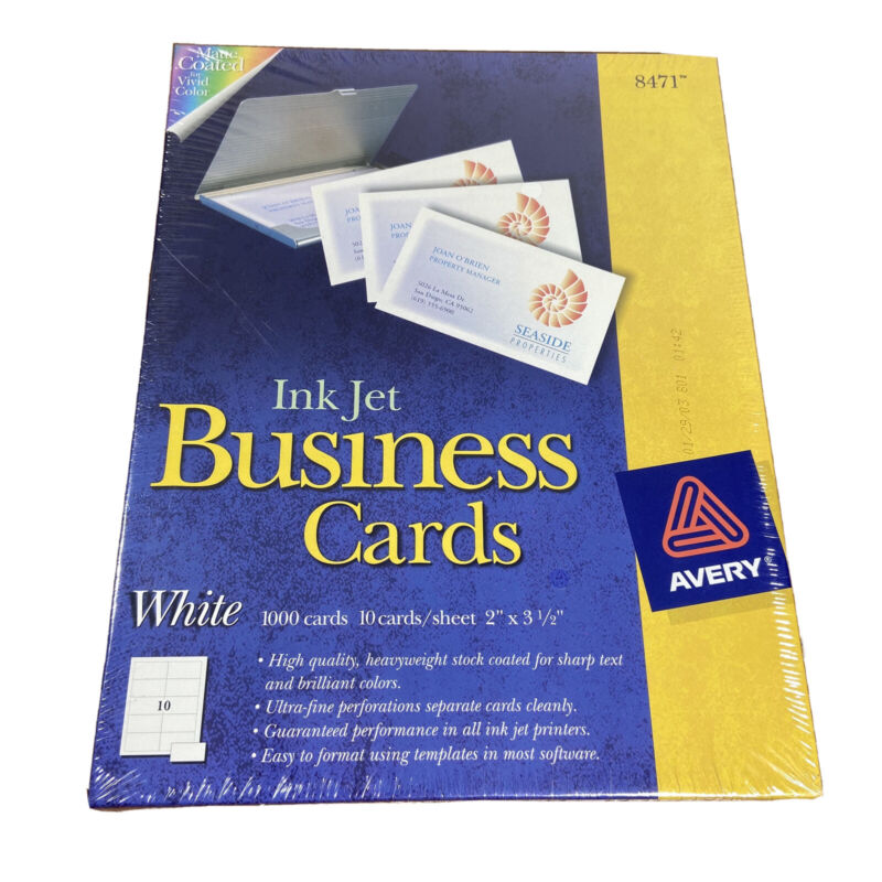 Avery ink jet Business Cards 1000 total, white, matte new in box 8471