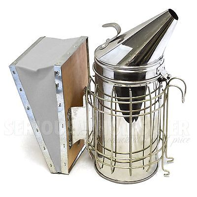 Bee Hive Smoker Stainless Steel With Heat Shield Beekeeping Equipment 11x4