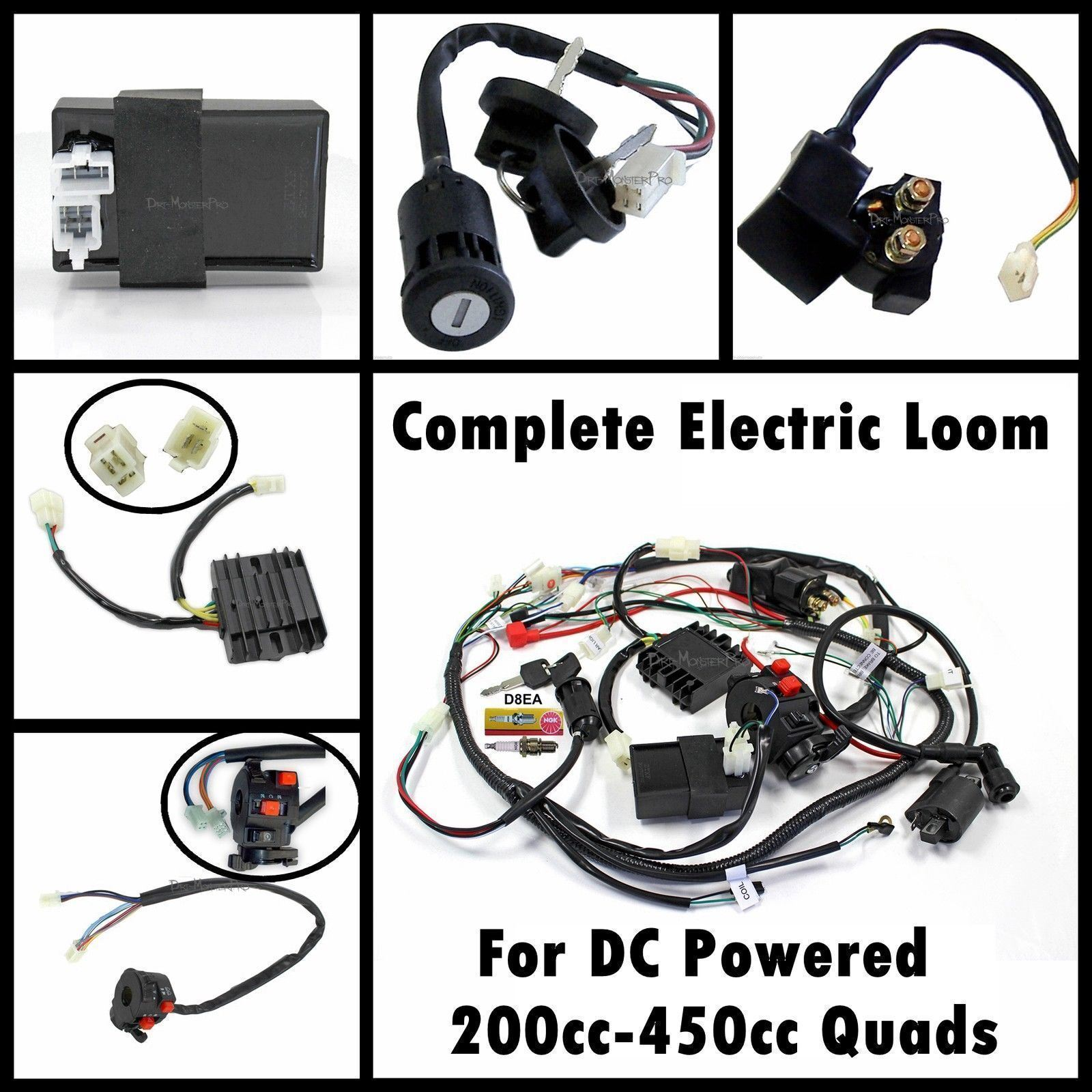 complete engine dc wiring harness wiring loom 200cc 250cc. Black Bedroom Furniture Sets. Home Design Ideas