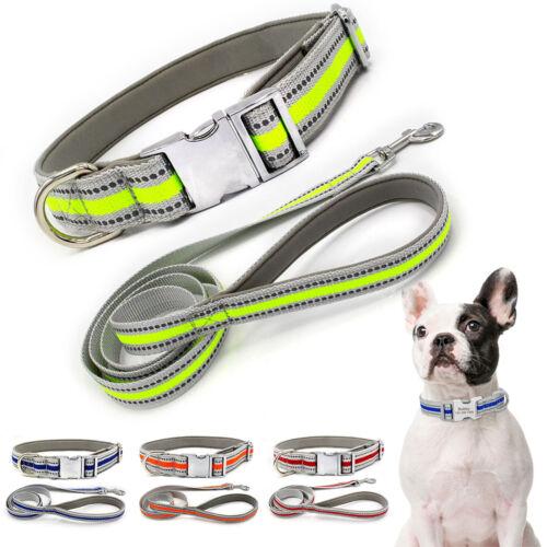 Hundehalsband Nylonhalsband Reflektierende Halsband mit Hundeleine Einstellbar
