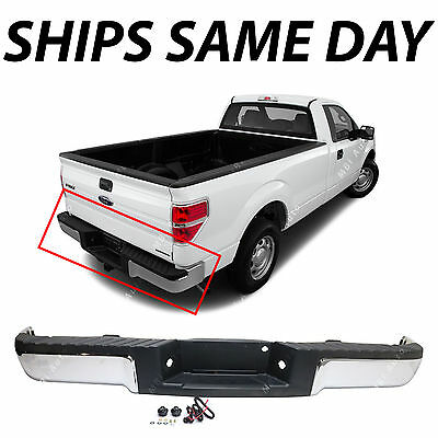 NEW Chrome - Complete Rear Steel Bumper Assembly For 2009-2014 Ford F150 Truck