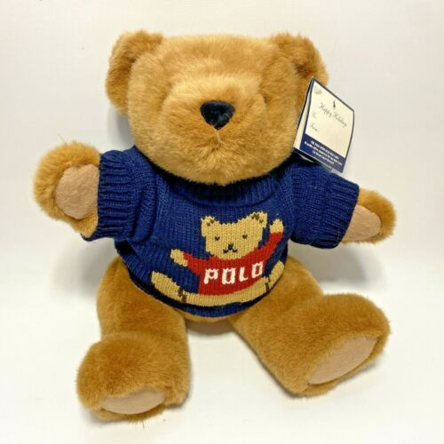Vintage 1997 Ralph Lauren Polo Plush Teddy Bear in Knit Sweater NEW OLD STOCK