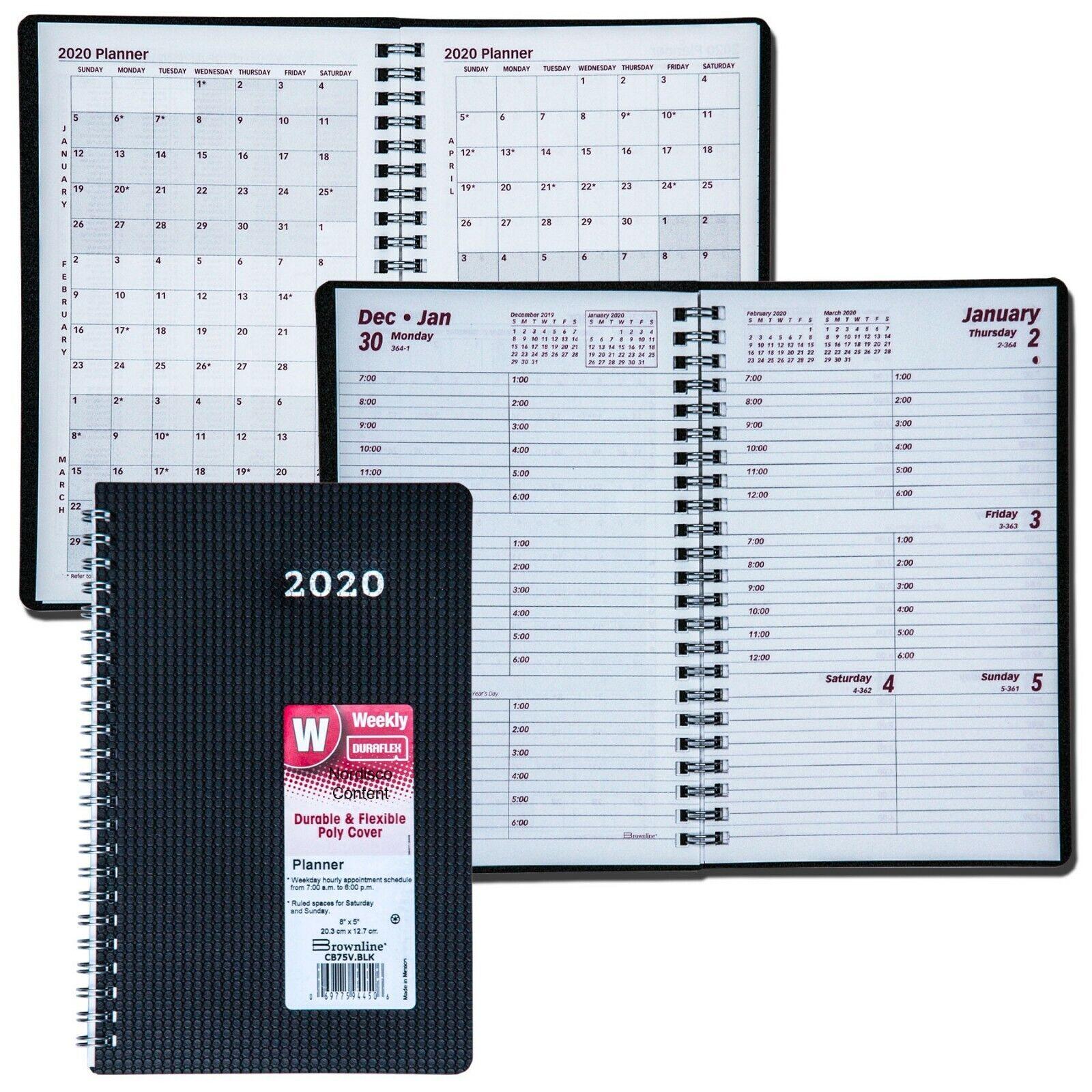 """2020 Brownline CB75V.BLK Duraflex Weekly Planner, 8 x 5"""""""