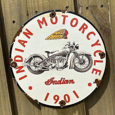 "Vintage Indian Motorcycle Porcelain 12"" Sign Dealer Gas And Oil Motor Bike Chief"
