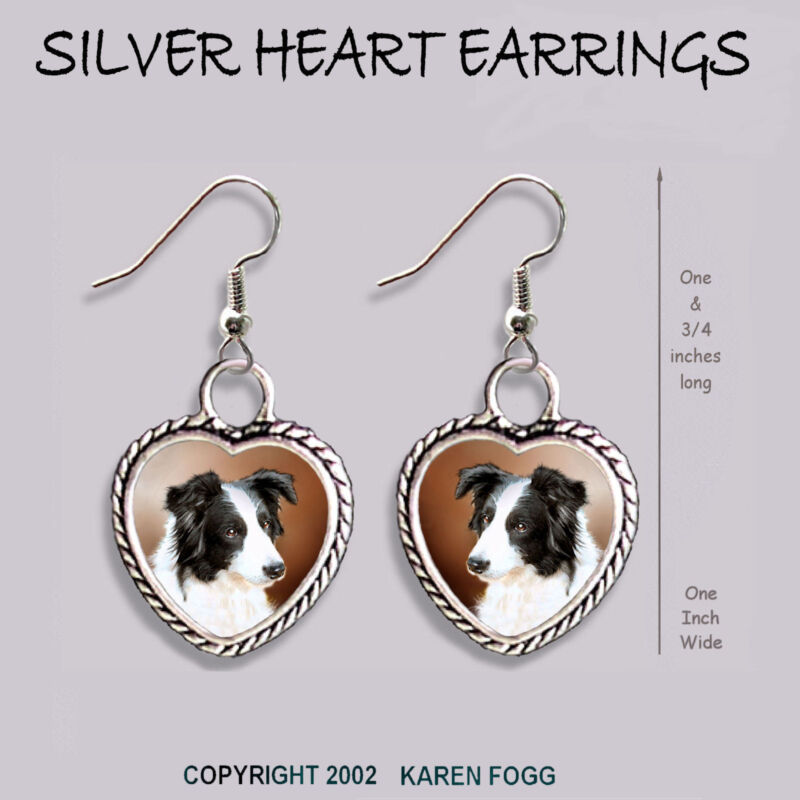 BORDER COLLIE DOG Black and White - HEART EARRINGS Ornate Tibetan Silver