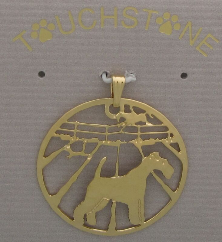 Fox Terrier Wire Jewelry Gold Pendant by Touchstone