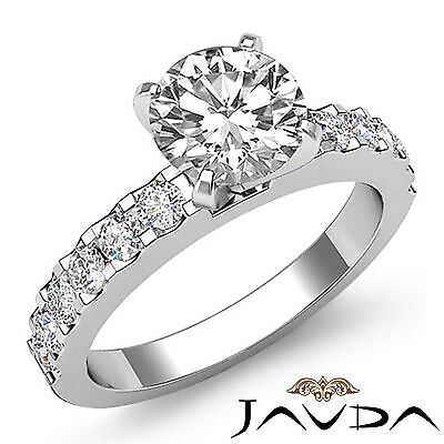 Shared Prong Round Natural Diamond Engagement Ring GIA Certified H SI1 1.47 Ct