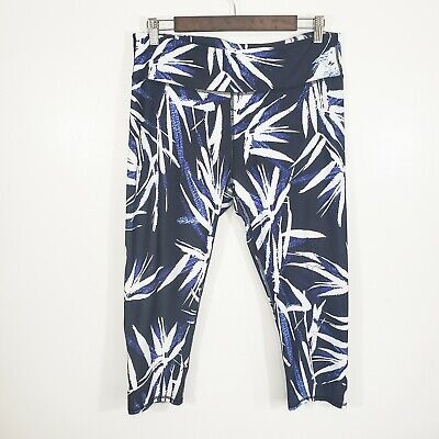 Fabletics Womens Mid Rise Blue Abstract Print Crop Leggings Size XL Leaf Floral