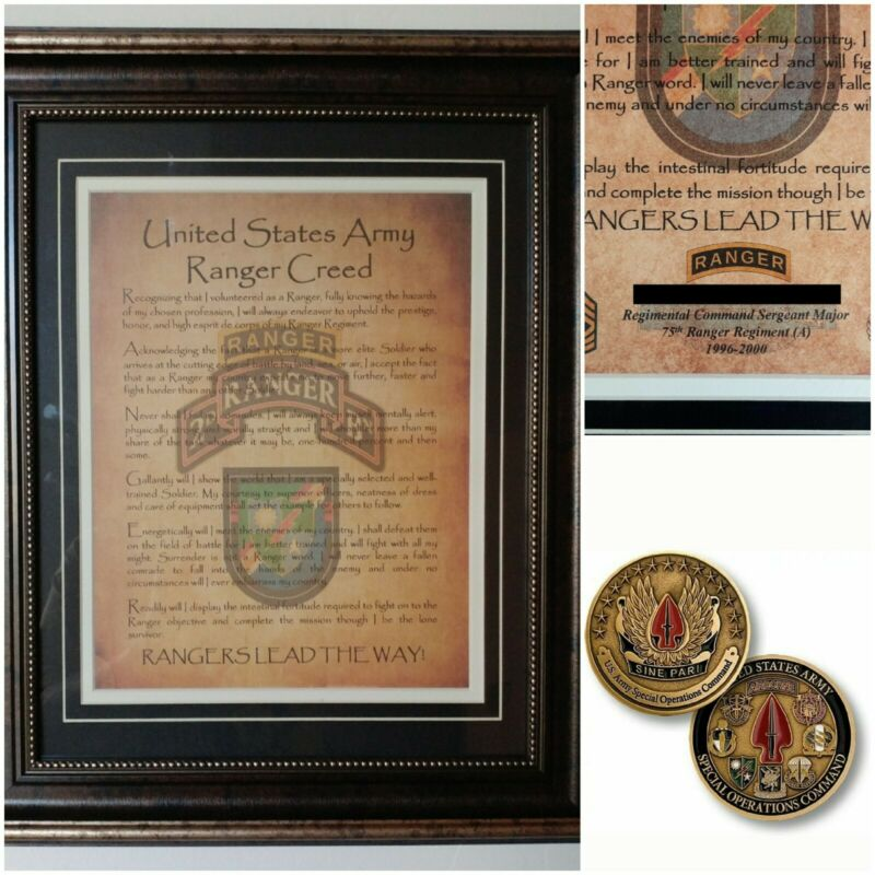 MC-BEST: Army Ranger SOCOM COIN and PERSONALIZED Ranger Creed FRAMED