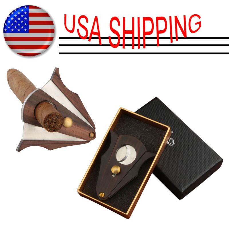 Galiner Stainless Steel Cigar Cutter Wood Double Blades Cut Cigar Scissors Gift