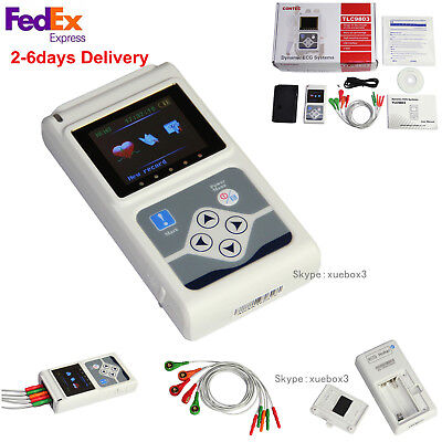 Us 3-lead 24hour Holter Monitor Ecgekg System Machinepacemaker Analyzer Contec