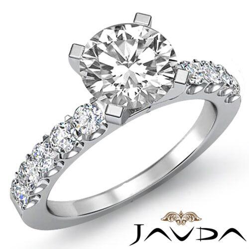 U Shared Prong Set Round Diamond Engagement Ring GIA F VS1 14k White Gold 2.25ct