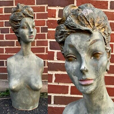 Vintage 50s Greengold Female Woman Mannequin Bust Torso Creepy Head Oddity 60s