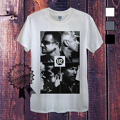 U2 T-Shirt White Grey Men Women Fitted Bono Ireland Rock Top Clothing Edge Tour