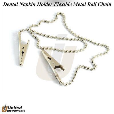 Dental Orthodontic Bib Crocodile Clip Napkin Holder Flexible Metal Ball Chain Ce