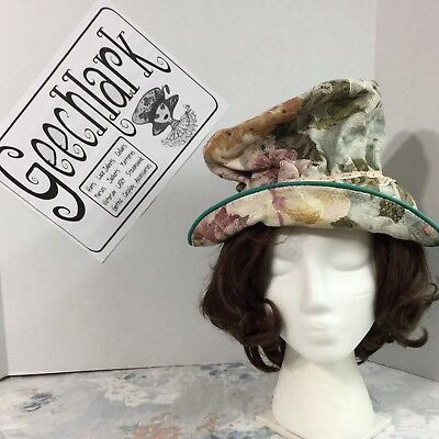 Steampunk Top hat romantic blue with pink flower Victorian pastel geechlark 5227](Blue Top Hat)