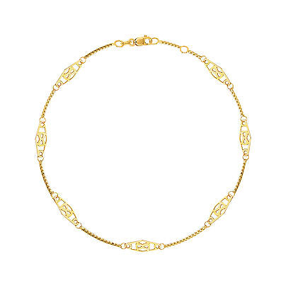 14K Solid Yellow Gold Infinity Anklet Ankle Bracelet 10