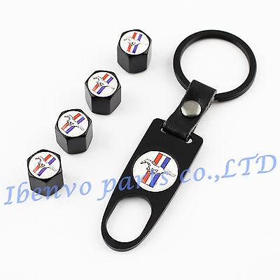 Key chain Black Metal Car Wheel Tyre Tire Stem Air Valve Cap For Ford Mustang