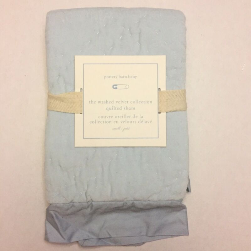 Pottery Barn Baby The Washed Velvet Collection Quilted Sham Light Blue